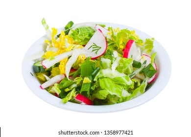 Fresh healthy vegetable salad isolated on the white background