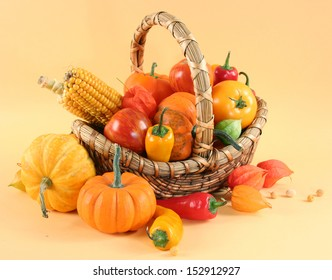 fresh healthy vegetables on yellow background