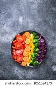 Fresh healthy vegetarian rainbow salad. Top view