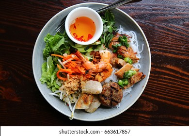 Fresh Healthy Vietnamese Asian Vermicelli Noodle Salad Bowl with Shrimp and Vegetables
