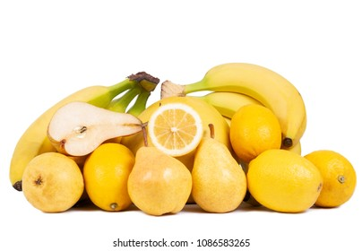Fresh healthy yellow fruits isolated