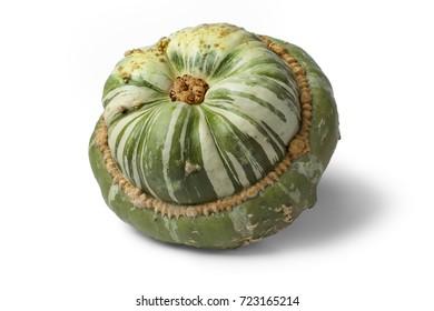 Fresh heirloom green Turban squash on white background