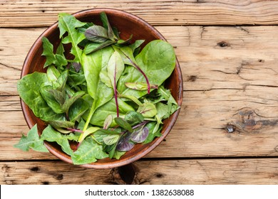 Fresh herb salad with spinach,arugula and lettuce.Green salad.Healthy diet.