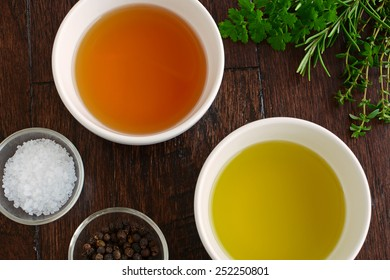 Fresh herbs, agave syrup, olive oil ,dijon mustard and rice wine vinegar with sea salt and peppercorns are the ingredients for a fresh healthy salad dressing