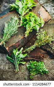 Fresh herbs. Culinary ingredients in rustic setting