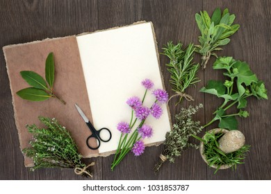 Fresh herbs for drying with natural hemp paper notebook, scissors and mortar with pestle. On rustic oak wood background, top view.