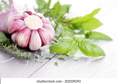 fresh herbs with garlic - herbs and spices