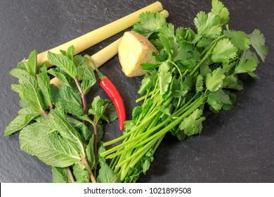 Fresh herbs including mint, lemongrass, chilli,coreander leaves  and mint