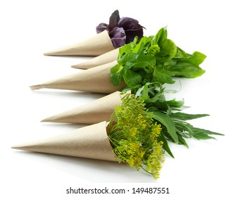 Fresh herbs, isolated on white