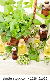fresh herbs and massage oil on the wooden table