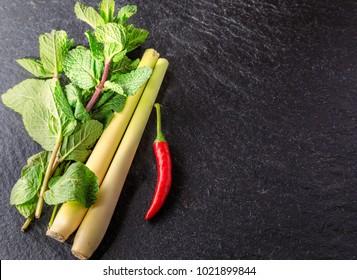 Fresh herbs  - mint chilli, lemongrass