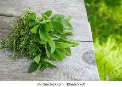 fresh herbs on wooden surface