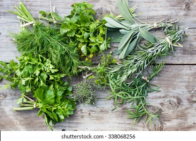 Fresh herbs: thyme, tarragon, sage, rosemary, parsley, mint, dill, coriander, celery, thyme