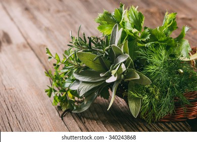 Fresh herbs: thyme, tarragon, sage, rosemary, parsley, mint, dill, coriander, celery