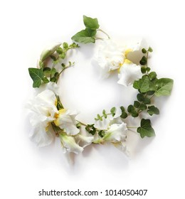 Fresh holiday floral frame made of Iris white flowers, buds and green ivy branches on white background. Flat lay, top view.