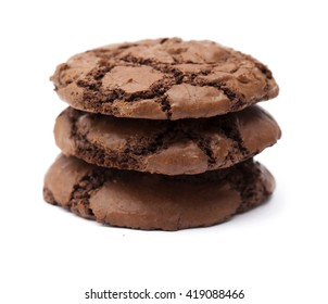 fresh home made chocolate cookies isolated on white background