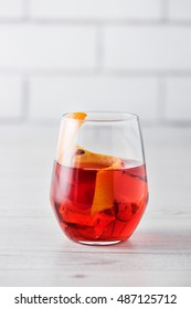 Fresh home made Negroni cocktails with orange peel