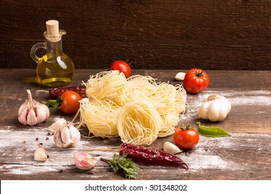 fresh home made pasta on rustic table