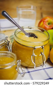 Fresh homemade apple puree in a jar