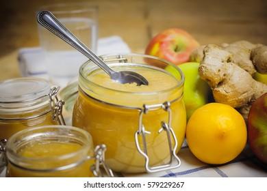 Fresh homemade apple puree in a jar