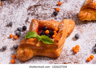 fresh homemade bakery with berries and topping