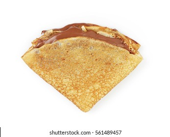 fresh homemade blinis with chocolate cream top view isolated on white background