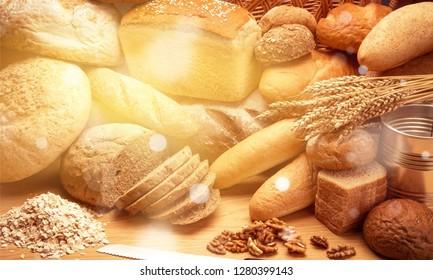 Fresh homemade bread loaves, close-up
