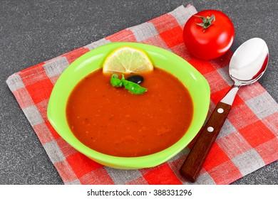 Fresh Homemade Classic Cold Gazpacho Soup. Studio Photo
