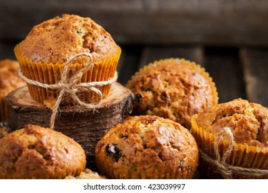 Fresh homemade delicious carrot muffins with dried fruits  and nuts