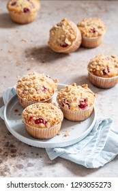 Fresh homemade delicious raspberry muffins on a table
