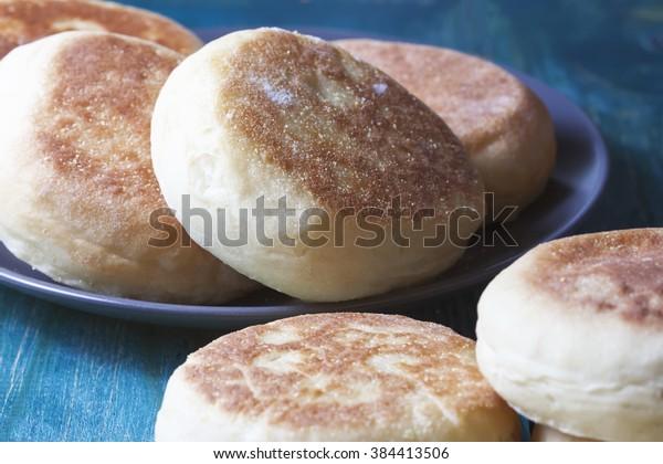 Fresh homemade English muffins. Breakfast. Selective focus