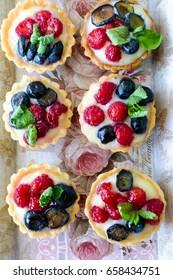 Fresh homemade fruit tartelettes with berries