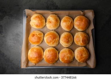 Fresh homemade Hamburger Buns/Brioche.