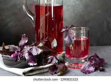 Fresh homemade infused beverage prepared from purple basil. Perfect drink for iftar and suhur during holy month of Ramadan