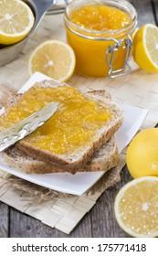 Fresh homemade Lemon Jam (close-up shot)