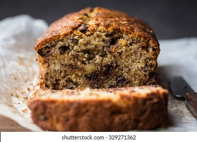 A fresh homemade loaf of banana walnut and chocolate chips bread