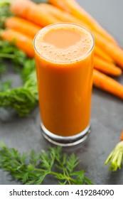 Fresh homemade organic carrot juice.