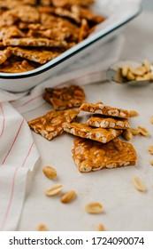 Fresh Homemade Peanut Brittle Candy