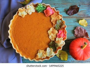 Fresh Homemade Pumpkin Pie made for Thanksgiving. Top view .