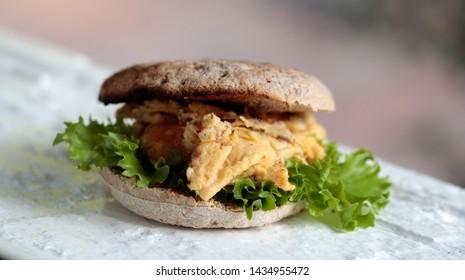 fresh homemade scrambled egg burger