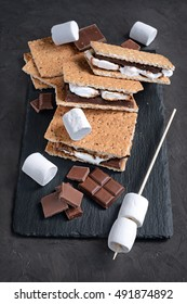 Fresh homemade smores with marshmallows, chocolate and graham crackers. The popular American cuisine dessert.