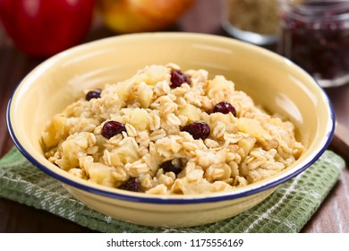 Fresh homemade vegan cooked apple, oatmeal, cranberry and cinnamon porridge, ingredients in the back (Selective Focus, Focus in the middle of the image)