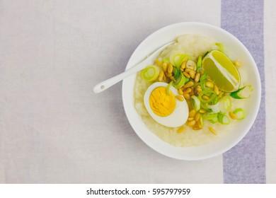 Fresh homemade vegetarian congee