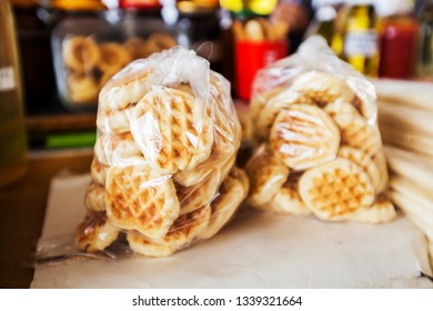 Fresh homemade waffles for sale at food market outdoor