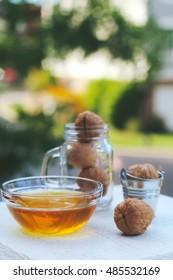 Fresh honey harvest in the jar for a healthy vegetarian breakfasts