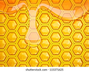 fresh honeycomb  background with a big drop