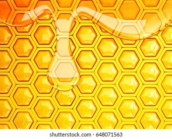 fresh honeycomb  background with a big drop. 3d illustration