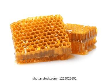 Fresh honeycombs on white background. Organic product