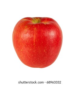 A fresh Honeycrisp apple isolated on a white background.