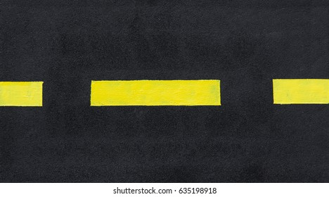 Fresh, hot asphalt with yellow markings, yellow line